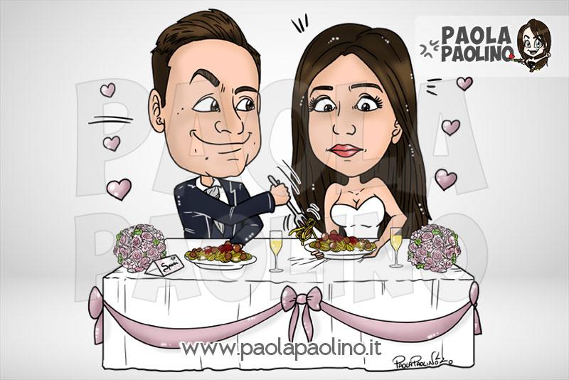 Caricatura sposi al tavolo del matrimonio