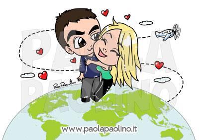 Caricatura coppia in viaggio per il mondo