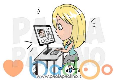 Caricatura personalizzata della coppia, conosciuta su badoo