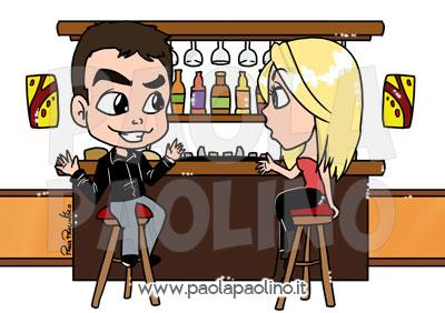 Caricatura personalizzata con la storia della coppia