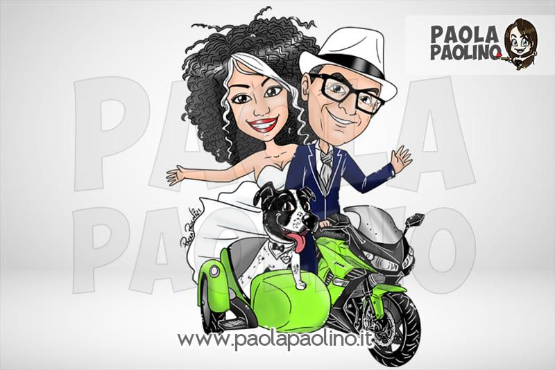 Caricatura degli sposi in moto
