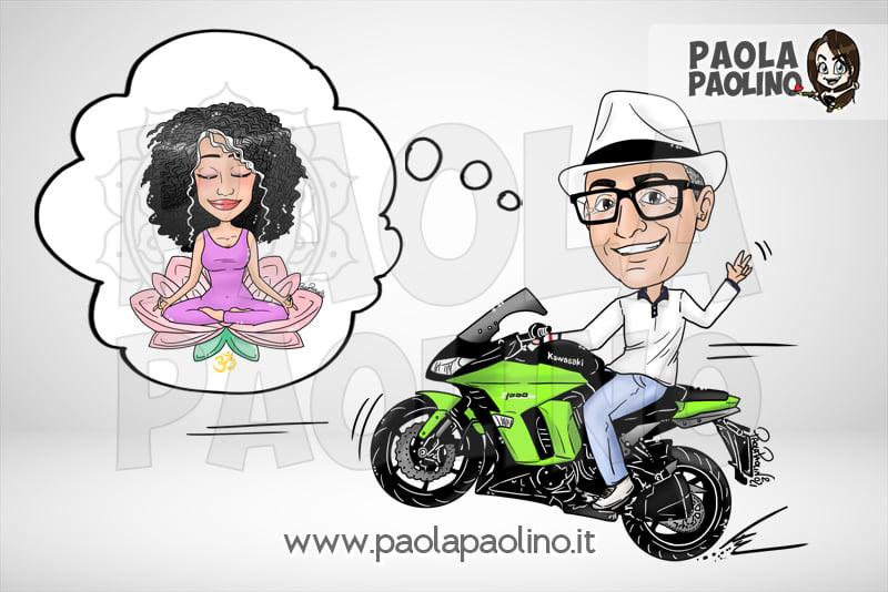 Caricatura sposo su moto e sposa che fa yoga